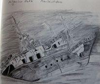 Wrack, Schiff, Zeichnung, Zeichnungen