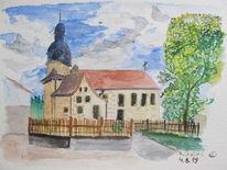Kirche, Franken, Aquarellmalerei, Gebäude