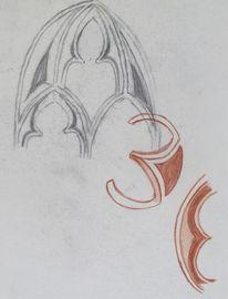Gotik, Kohlezeichnung, Fenster, Kreide