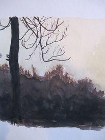 Herbst, Gouachemalerei, Natur, Landschaft