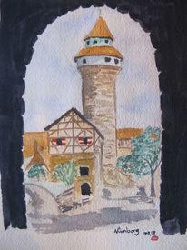 Nürnberg, Franken, Aquarellmalerei, Architektur