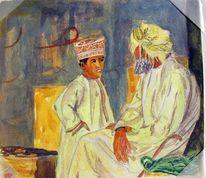 Oman, Gouachemalerei, Alter mann, Aquarell
