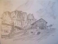 Berge, Hütte, Zeichnungen,