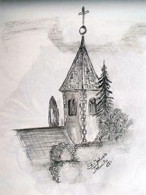 Reiseskizze, Bleistiftzeichnung, Kirche, Zeichnungen
