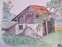 Landschaft, Aquarellmalerei, Stadel, Aquarell
