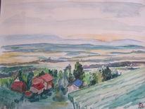 Aquarellmalerei, Landschaft, Weinberg, Aquarell