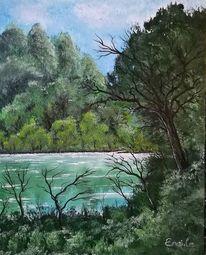 Wasser, Acrylmalerei, Landschaft, Pflanzen