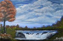Landschaft malerei, Wasserfall, Wasser, Pflanzen