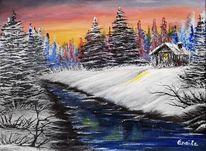 Fluss, Landschaft malerei, Winter, Schnee