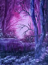 Landschaft, Rosa, Baum, Lila