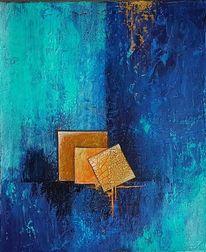 Acrylmalerei, Blau, Mischtechnik, Spachteltechnik