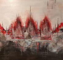 Wandbild, Strukturpaste, Stadt, Rot