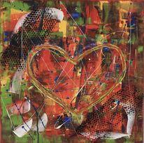 Abstrakte malerei, Abstraktes gemälde, Herz, Spachteltechnik