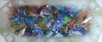 Acrylmalerei, Bunt, Spachteltechnik, Abstrakt