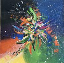 Abstraktes gemälde, Spachteltechnik, Abstrakte liebe, Malerei abstrakt