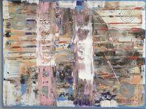 Abstraktes gemälde, Rakeltechnik, Acrylmalerei, Rosa