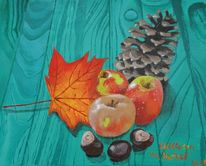Obst, Türkis, Stillleben, Acrylmalerei