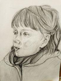 Zeichnung, Studie, Mädchen, Zeichnungen