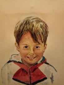 Portrait, Kind, Junge, Aquarell