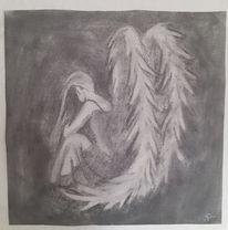 Engel, Kohlezeichnung, Zeichnung, Zeichnungen