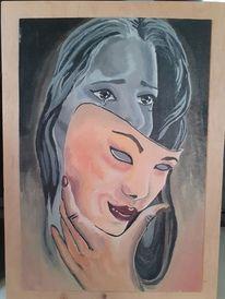 Maske, Acrylmalerei, Traurig, Malerei