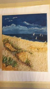 Acrylmalerei, Strand, Struktursand, Meer