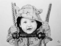 Bleistiftzeichnung, Kleinkind, Zeichnung, Zeichnungen