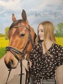 Pferde, Reiter, Zeichnung, Menschen