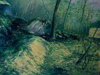 Tessin, Landschaft malerei, Wald bei arcegno, Malerei