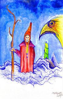 Aquarellmalerei, Psychedelisch, Zauberer, Mystik