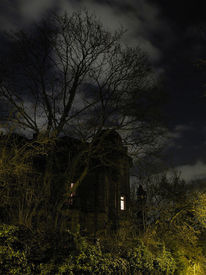 Wolken, Altbau, Langzeitbelichtung, Herrenhaus
