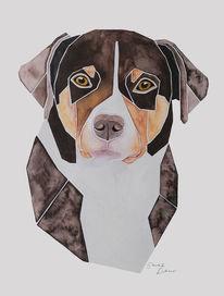 Auftragsarbeit, Aquarellmalerei, Hundeportrait, Tierportrait