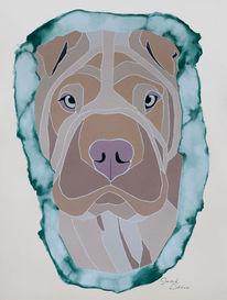 Acrylmalerei, Tierportrait, Hund, Abstrakt