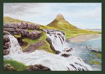 Landschaft, Wasserfall, Landschaft malerei, Gestein