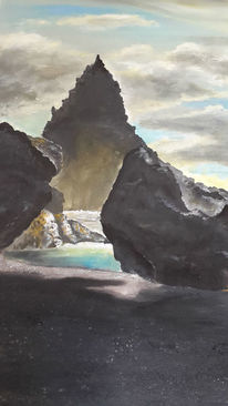 Melancholisch, Landschaft malerei, Sturm, Strand