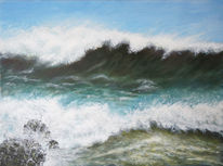 Landschaft, Meer, Acrylmalerei, Sturm