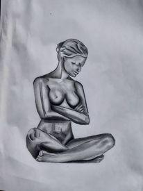 Bleistiftzeichnung, Frau, Zeichnung, Zeichnungen