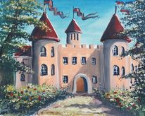 Wasserfarbe, Illustration, Puppenspiel, Märchenschloss