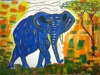 Abstrakte malerei, Tiere, Malerei, Elefant