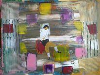 Sportler, Abstrakte malerei, Menschen, Malerei