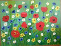 Abstrakte malerei, Blumen, Fantasie, Blumenwiese