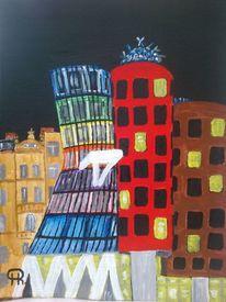 Haus, Fantasie, Abstrakte malerei, Landschaft