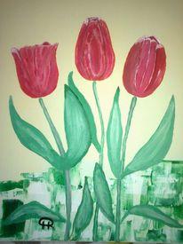 Abstrakte malerei, Tulpen, Blumen, Malerei