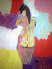 Abstrakte malerei, Malerei, Frau, Hut