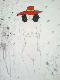 Abstrakte malerei, Malerei, Hut, Frau