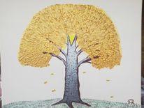 Abstrakte malerei, Baum, Herbst, Landschaft