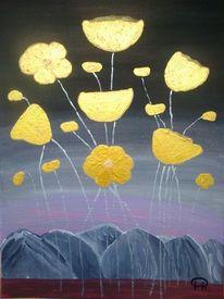 Landschaft, Mohn, Abstrakte malerei, Blumen