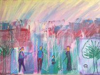 Abstrakte malerei, Menschen, Malerei, Stadtpark