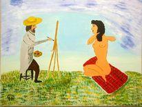 Abstrakte malerei, Menschen, Acryl auf pappe, Malerei
