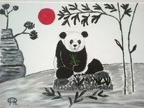 Tiere, Abstrakte malerei schwarz, Weiß, Rot
